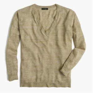J. Crew Merino-Linen V-Neck Sweater Olive Green